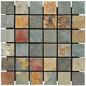 "MS International SMOT-CGLD-2X2-T California Gold Ceramic tile Tumbled in 12"" x 12"" Mesh, 2"" x 2"""