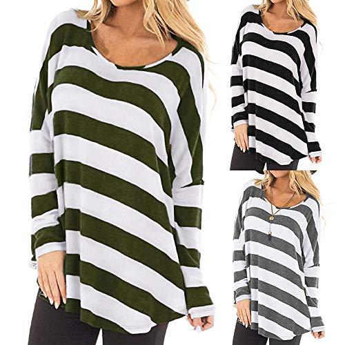 Manches T Chemises Longue LaChe Blouse pour Shirt Automne Casual Rayures Longues Innerternet T Femmes Gris PqE7wxA