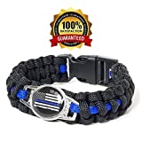 blue line bracelet - FutureSteps Support The Police Police Para-cord Survival Bracelet   Police Thin Blue Line (8.5, S\M)