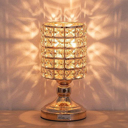 - HAITRAL Crystal Table Lamps - Decorative Bedsides Desk Lamp with Crystal Lamp Shade Gold Night Lamps for Bedroom, Living Room, Kitchen, Dining Room, Dorm (HT-BD025)