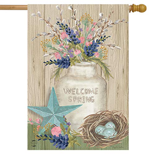 Primitive Spring - Briarwood Lane Gifts of Spring Primitive House Flag Floral Mason Jar 28