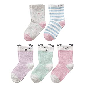 SUNBVE Toddler Girls' Cute Animals Fun Soft Cotton Dress Socks 5 Pack
