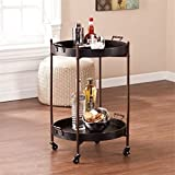 Pemberly Row Two Tier Round Butler Table in Black