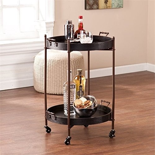 Pemberly Row Two Tier Round Butler Table in Black PR-656737