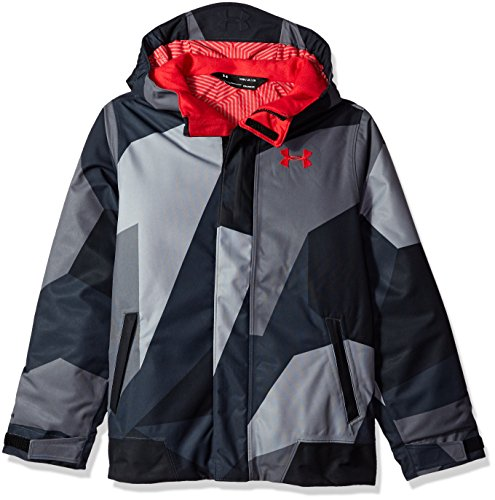 Under Armour Boys' Storm Powerline Insulated Jacket, Steel/Red, Youth Medium by Under Armour