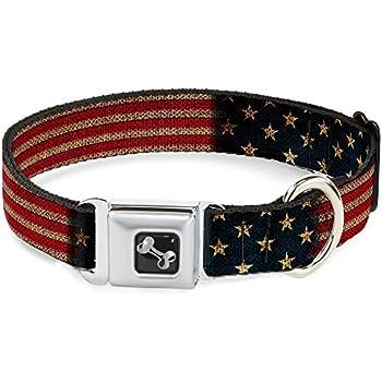 ab510f141 Buckle-Down Seatbelt Buckle Dog Collar - Vintage US Flag Stretch - 1