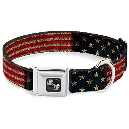 Dog Collar Seatbelt Buckle Vintage US Flag Stretch 18 to 32 Inches 1.5 Inch ()