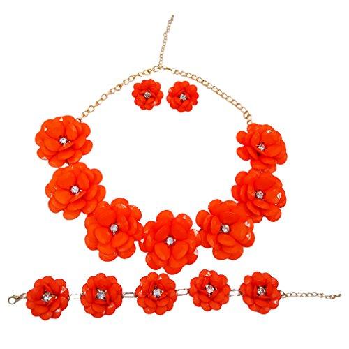 Flower Brooch Earrings - laanc 7 Flower Bridal Wedding Jewelry Set Resin Beads Stone Pearl Floral Vine Design Necklace Sets(Orange)
