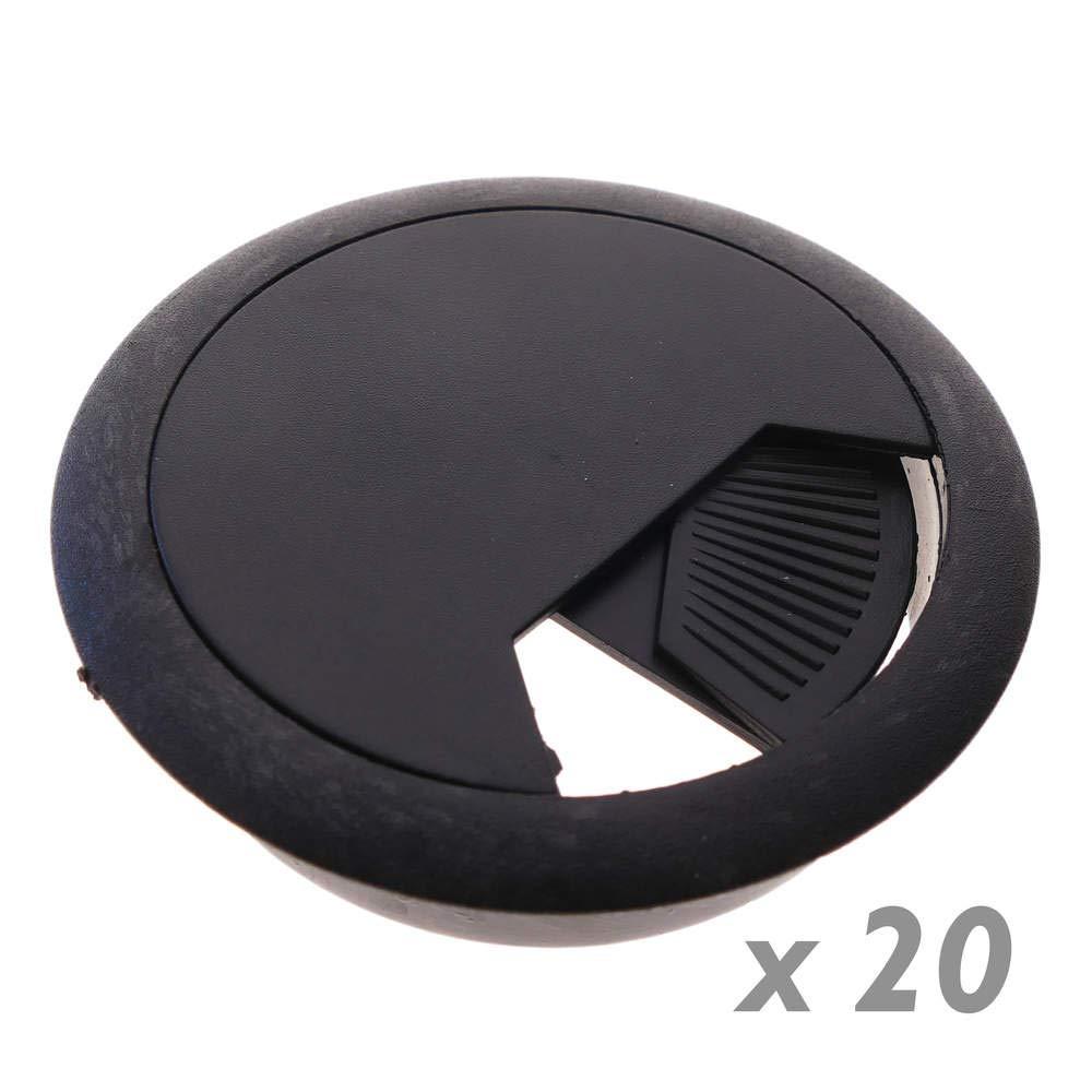 BeMatik - Confezione da 20 passacavi Rotondi per incastrare in Tavolo e scrivania Colore Nero Diametro 60 mm BeMatik.com PN04051718200130885