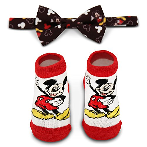 Disney Baby Boy's Mickey Mouse Dress Bowtie and Terry Booties Gift Set Sockshosiery, black, white, red, 0-12M -