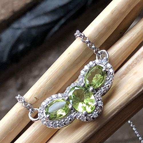 Natural 3.5ct Apple Green Peridot, White Sapphire 925 Solid Sterling Silver Designer Pendant Necklace 18