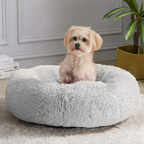 WAYIMPRESS Calming Dog Bed for Small Dog&Cat ,Comfy Self Warming Round Dog Bed with Fluffy Faux Fur for Anti Anxiety and Cozy (20 x 20 Inch, Grey)