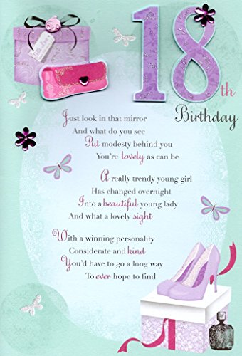 Second Nature 18Th Happy Birthday Greeting Card Lovely Verse Embellished Greetings Cards