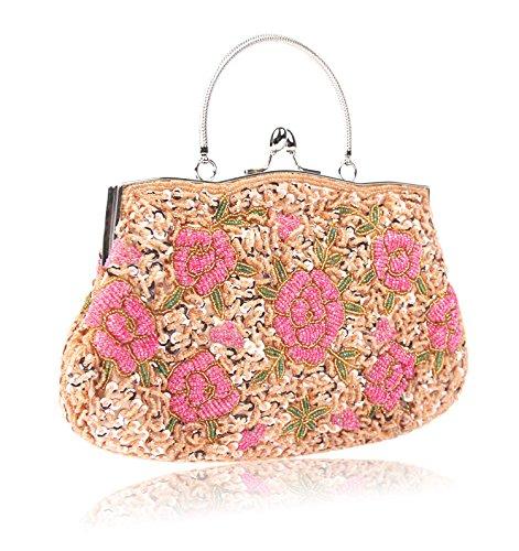 Bag Evening Handbag Champagne Women's Tote Clutch Mogor Beaded Vintage Flower q8YaFx