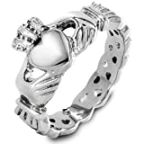 West Coast Jewelry Women's Stainless Steel Claddagh with Celtic Knot Ring - Size 7