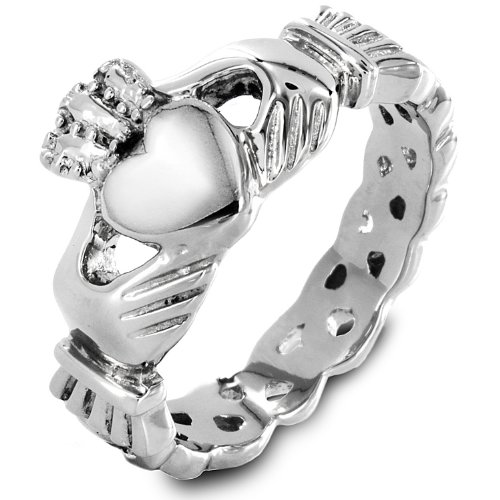 Women's Stainless Steel Claddagh with Celtic Knot Ring - Size 7
