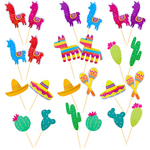(Elcoho 80 Pieces Mexican Fiesta Party Decorative Cupcake Toppers for Mexican Themed Cactus Donkey Taco Pepper Sombrero Alpaca Party Cake Picks Decor)