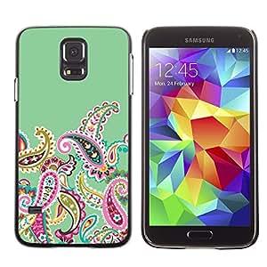 TopCaseStore / la caja del caucho duro de la cubierta de protección de la piel - Fractal Drawing Girly Feminine - Samsung Galaxy S5 SM-G900