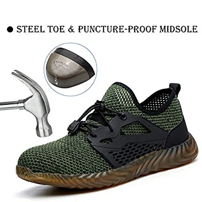 XUNRUO Indestructible Work Shoes Mens Womens, Breathable Safety Steel Toe Athletic Sneakers, Lightweight Construction Carpenter Shoes