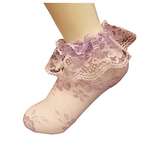 Donne Calze A Rete, Ragazze Chic Inkach Increspatura Calze A Rete Alla Caviglia Calze A Rete Pizzo Rotondo Corta Calze A Rete Viola