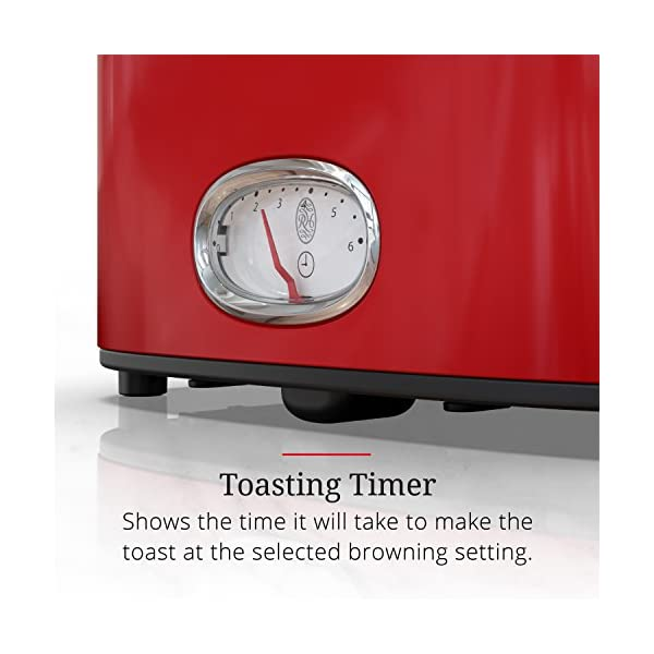 Russell Hobbs 2-Slice Retro Style Toaster, Red & Stainless Steel, TR9150RDR 2