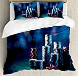 Poker Tournament Decorations Queen Size Duvet Cover Set by Ambesonne, Gaming Table with Poker Chips Dramatic Display Vegas Leisure, Decorative 3 Piece Bedding Set with 2 Pillow Shams, Multicolor