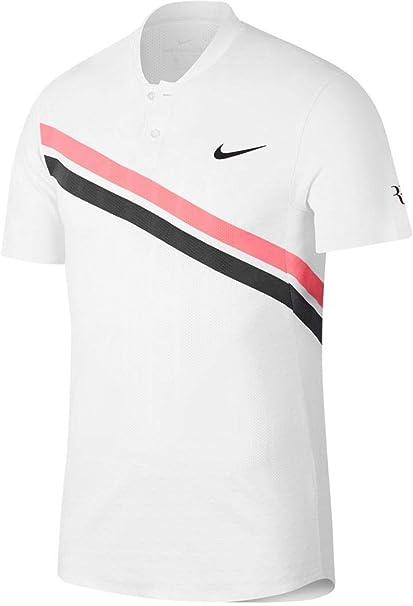 Nike RF M Nkct ADV MB Polo, Hombre, Blanco/Rojo (Lava Glow ...