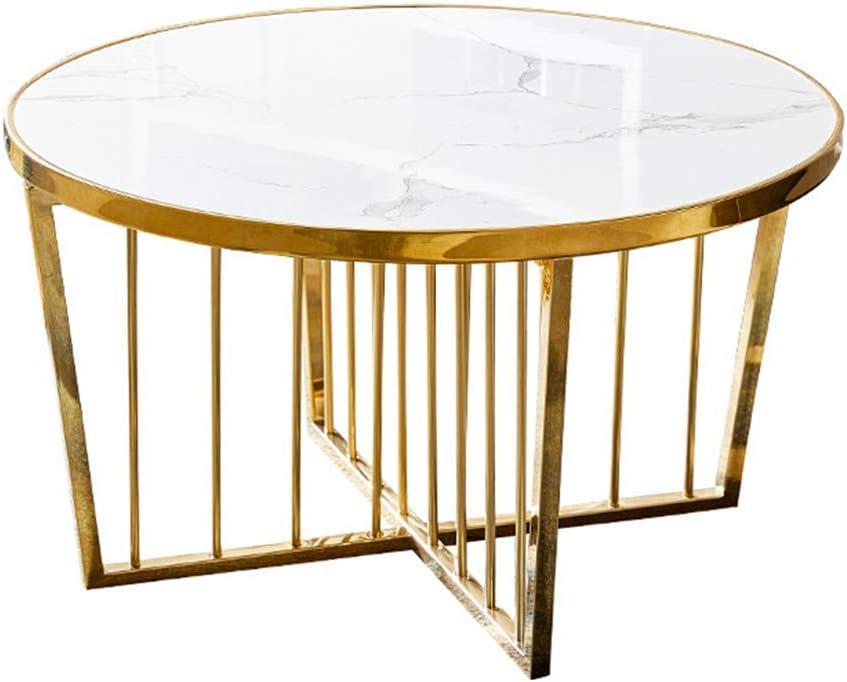 豪華なコーヒー/サイドエンドテーブル、サテンゴールドトリム、天然大理石トップ、ステンレス鋼Xベース、60 / 80cmで利用可能