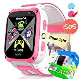 Smartwatch for Kids-TURNMEON Kids Game Smart Watch for Girls Boys Children Christmas Birthday Gifts with SOS Calls Pedometer Camera Alarm Clock Electronic Learning Toys (Pink*White)