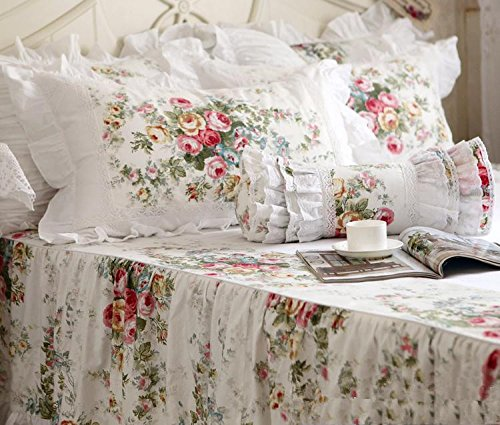 FADFAY Elegant and Shabby Vintage Rose Floral White Duvet Cover Bedskirt Lovely Lace and Ruffle Style Exquisite Craft 100% Cotton