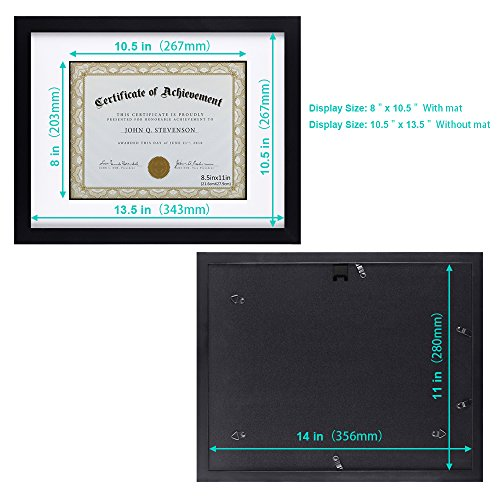 RPJC Document Frame/Certificate Frames Made of Solid Wood High Definition Glass and Display Certificates Standard Paper Frame 11X14 Mat 8.5x11 Black by RPJC (Image #2)