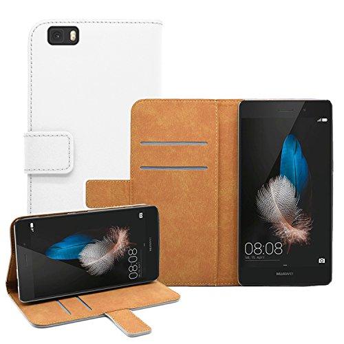 Membrane Funda Huawei P8 Lite Carcasa Cuero Auténtico Negro Piel Cartera Wallet Case Flip Cover Blanco