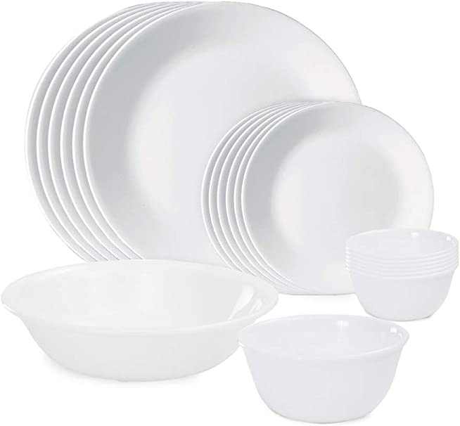 Amazon Com Corelle Winter Frost White Dinnerware Set With Lids 20 Piece Service For 4 Dinnerware Sets