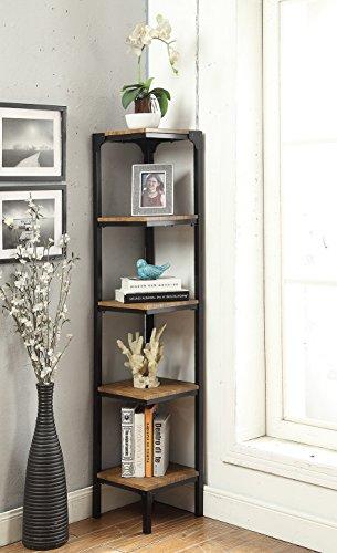 Vintage Brown Finish Black Metal Wall Corner 5-Tier Bookshelf Bookcase Accent Display Shelf (Black Corner Bookshelf)