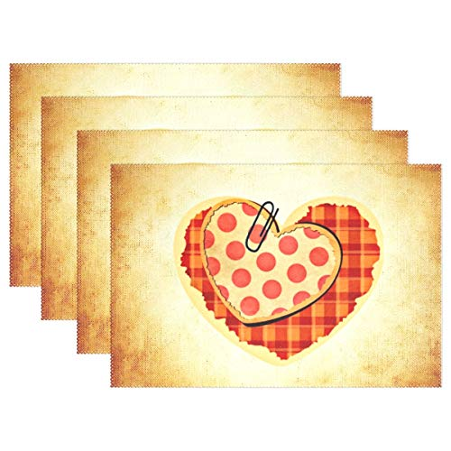 Romance Place Card - WUTMVING Heart Love Points Checkered Greeting Card Romance Placemats Set of 4 Heat Insulation Stain Resistant for Dining Table Durable Non-Slip Kitchen Table Place Mats