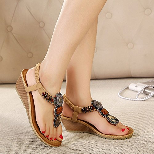 COOLCEPT Mujer Moda Ankle Strap Thongs Tacon de cuna Slingback Flip Flop Zapatos Albaricoque