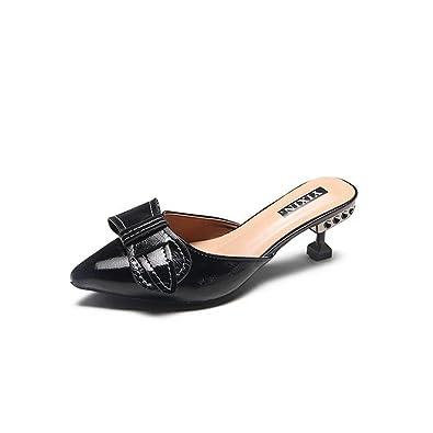 Women es Simple Bowknot Spitze Zehen Mid Kitten Ferse Sandalen Mode Slip auf Lazy Shoes