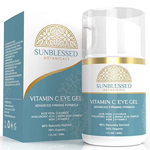 Vitamin C Eye Gel for Under Eye Bags Treatment Dark Circles Puffiness Wrinkles Crows Feet and Anti Aging Skin Care with Hyaluronic Acid Made in USA by SunBlessed Botanicals
