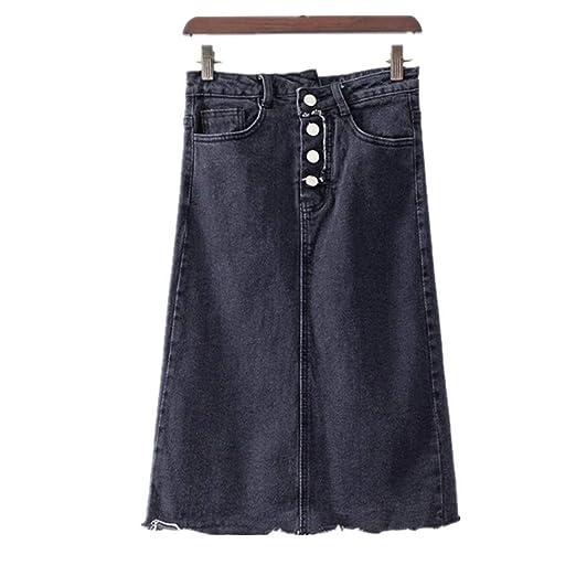 Faldas de Cintura Alta de Color sólido para Mujer Falda Larga ...