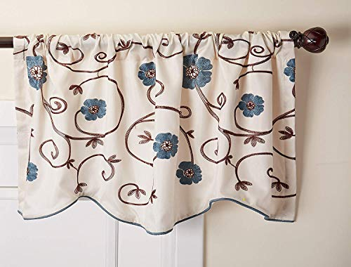"Linens And More-Laura Royal Garden Window Treatment Valance, Blue,42""x 18"" Inch (Blue)"