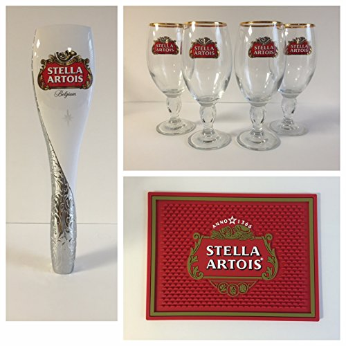 Stella Artois Draft Combo - 4 33cl Glasses - 1 Tap Handle - 1 Bar Mat by Stella Artois