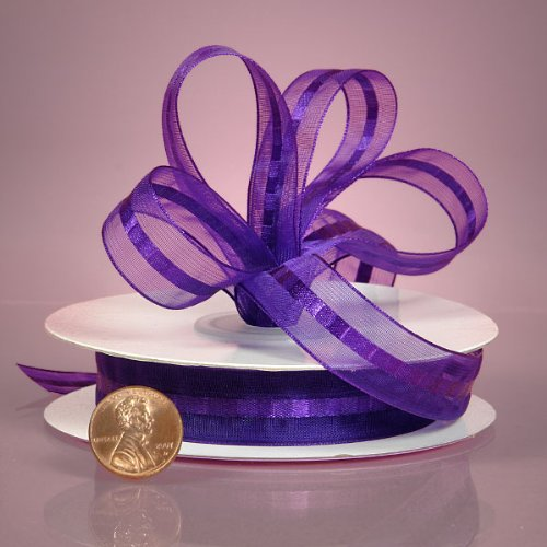 Purple Satin and Sheer Stripes Ribbon, 5/8