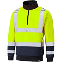 Dickies Mens Hi-Vis Two Tone Zip Neck Top