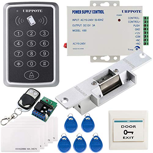 UHPPOTE 125KHz RFID EM ID Keypad Stand-alone Door Access Control Kit With Strike Lock Remote Control Exit Button ()