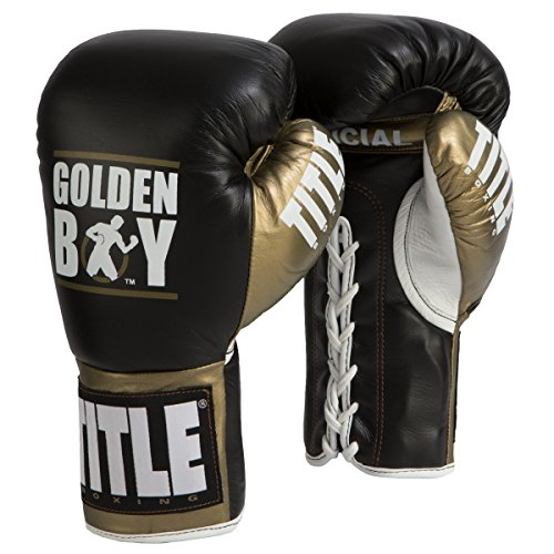 Title Boxing Golden Boy Pro Fight Gloves, Black/Gold, 8 oz (Pro Fight Gloves)