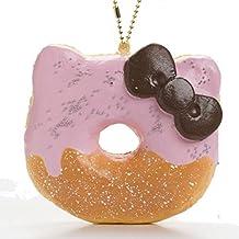 Sanrio Hello Kitty Super Soft Squishy Big Donut Ball Chain (Half Chocolate / Strawberry)