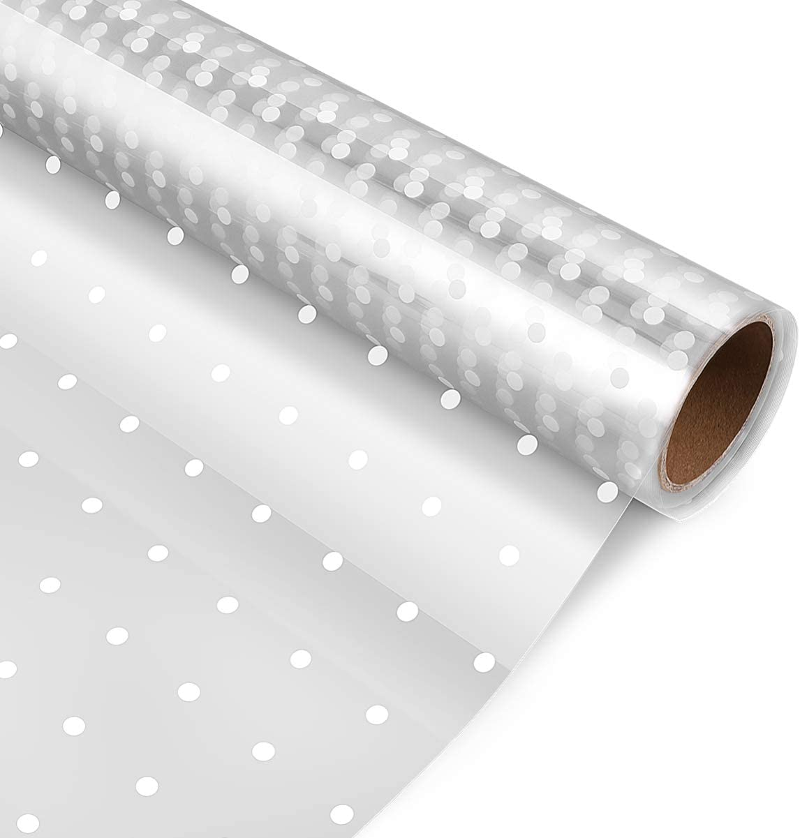 STOBOK Cellophane Wrap Roll,White Dot Florist Paper Wrapper 15.7 inch x100 Ft Crystal Long Film Gift Wrappings Packing Paper for Flowers Craft Basket Bouquet Fruit Food