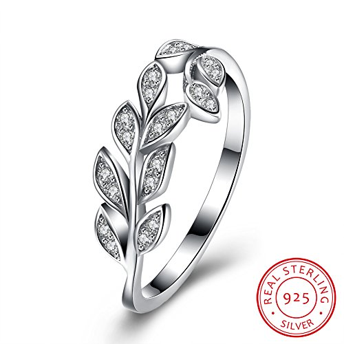 BALANSOHO Olive Branch Wedding Bands Anniversary Ring in 925 Sterling Silver with Cubic Zirconia, Size 8 (Leaf Ring)