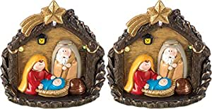 New Light Up Christmas Golden Nativity Statue Figure Table Top Decor, Lot of 2