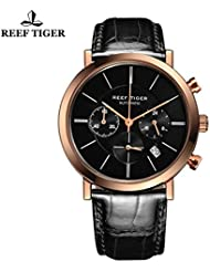 Reef Tiger Ultra Thin Watch Date Rose Gold Black Dial Genuine Leather Chrono Quartz Watches RGA162